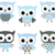 cute blue and grey vector owls set for baby showers stock photo © pravokrugulnik