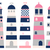 Vector set with lighthouses in pink, blue and grey colors stock photo © Pravokrugulnik