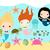 cute mermaids and sea animals vector collection stock photo © pravokrugulnik