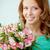 lány · virágcsokor · portré · csinos · köteg · rózsaszín - stock fotó © pressmaster