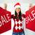 Noël · vente · fille · heureuse · cap · rouge - photo stock © pressmaster