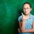 lány · kréta · portré · aranyos · iskolás · lány · szemüveg - stock fotó © pressmaster