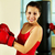feminino · boxeador · retrato · mulher · jovem · vermelho · luvas · de · boxe - foto stock © pressmaster