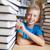 笑みを浮かべて · 学生 · 図書 · ライブラリ · 図書 · 作業 - ストックフォト © pressmaster