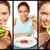 коллаж · молодые · красивая · женщина · свежие · овощи · здоровое · питание · продовольствие - Сток-фото © pressmaster