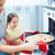 sevimli · kadın · pizza · beyaz · gıda - stok fotoğraf © pressmaster