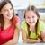 dois · irmãs · beber · suco · cozinha · família · feliz - foto stock © pressmaster