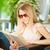 Smart · женщину · чтение · листовка · интересный · рук - Сток-фото © pressmaster