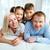 maison · portrait · famille · heureuse · lit · femme - photo stock © pressmaster