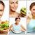 colagem · jovem · bela · mulher · vegetal · salada - foto stock © pressmaster