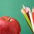 színes · ceruzák · alma · közelkép · nagy · piros · alma - stock fotó © pressmaster