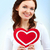 amoroso · retrato · mujer · papel · corazón - foto stock © pressmaster