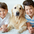 fiúk · kutya · portré · boldog · testvérek · díszállat - stock fotó © pressmaster