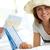 gelukkig · vrouwelijke · elegante · vrouw · hoed - stockfoto © pressmaster