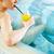 リラックス · プール · 女性 · 座って · 飲料 · レモネード - ストックフォト © pressmaster
