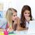 iki · kızlar · bakıyor · dizüstü · bilgisayar · ekran · kolej - stok fotoğraf © pressmaster