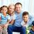 maison · de · famille · portrait · famille · heureuse · deux · enfants · séance - photo stock © pressmaster