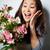 meglepődött · nő · tart · virágcsokor · fiatal · nő · rózsaszín - stock fotó © pressmaster