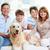 rodziców · dzieci · sofa · labrador · domu · salon - zdjęcia stock © pressmaster