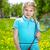 zárt · baba · kék · szemek · néz · gyerekek - stock fotó © pressmaster