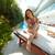 à · l'extérieur · hôtel · jolie · jeune · fille · séance · chaise · longue · loisirs - photo stock © pressmaster