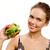 légumes · déjeuner · portrait · joli · jeune · fille · Burger - photo stock © pressmaster