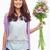 boldog · lány · virágok · portré · pozitív · női · köteg - stock fotó © pressmaster