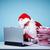 Navidad · retrato · papá · noel · tocar · cabeza · mirando - foto stock © pressmaster
