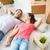 casual · casal · piso · branco · mulher · amor - foto stock © pressmaster
