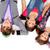 üç · mutlu · arkadaşlar · kulaklık · teknoloji - stok fotoğraf © pressmaster