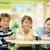 üç · mutlu · yalıtılmış · okula · geri · en · İyi · arkadaşlar · sınıf · arkadaşları - stok fotoğraf © pressmaster