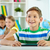écolier · leçon · portrait · puce · lad · travail - photo stock © pressmaster