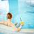 プール · 若い女性 · 座って · スイミングプール · レモネード - ストックフォト © pressmaster