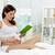 foto · feliz · mujer · embarazada · lectura · cama - foto stock © pressmaster