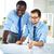 werken · kantoor · afbeelding · twee · jonge · zakenlieden - stockfoto © pressmaster