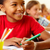 attention · rangée · élèves · regarder · enseignants · cute - photo stock © pressmaster