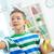 astucieux · écolier · portrait · garçon · transparent · bord - photo stock © pressmaster