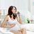 молодые · красивая · женщина · сидят · кровать · питьевой · кофе - Сток-фото © pressmaster