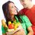 pár · boldog · egészséges · étkezés · néz · kamera · lány - stock fotó © pressmaster
