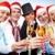 vrouwelijke · vrolijk · christmas · Rood · hoed - stockfoto © pressmaster