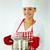 mosolyog · lány · szakács · kalap · merőkanál · habaró - stock fotó © pressmaster