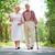 anziani · piedi · vista · posteriore · felice · parlando - foto d'archivio © pressmaster