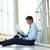 ビジネスマン · 読む · 紙 · 背面図 · レトロな · 座って - ストックフォト © pressmaster