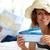 vrouw · tickets · gelukkig · hoed · tonen · vlucht - stockfoto © pressmaster