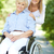 rolstoel · vrouw · vergadering · glimlachend · camera · strand - stockfoto © pressmaster