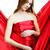 gyönyörű · nő · gyönyörű · fiatal · terhes · nő · piros · fehér - stock fotó © prg0383