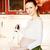 gyönyörű · nő · fiatal · terhes · nő · konyha · készít · étel - stock fotó © prg0383