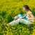 meisje · moeder · baby · Geel · veld · vrouw - stockfoto © prg0383