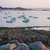zachód · słońca · różowy · granitu · wybrzeża · idylliczny · łodzi - zdjęcia stock © prill