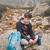 telefone · móvel · montanha · trilha · menino · rocha - foto stock © przemekklos